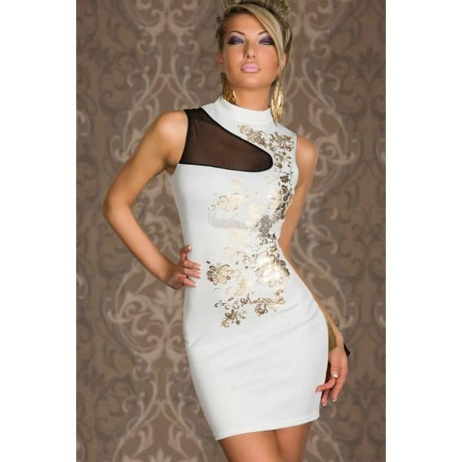 Robe Blanche Et Or Achat Vente Robe Blanche Et Or Cdiscount
