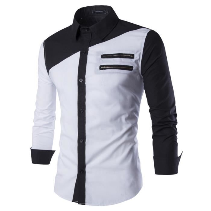 chemise homme slim fit marque patchwork chemise blanc. Black Bedroom Furniture Sets. Home Design Ideas
