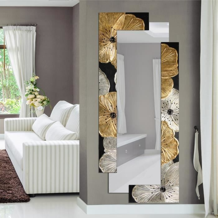 miroir d coratif mural design italien fleurs petunia oro pintdecor d cor la main 1 achat. Black Bedroom Furniture Sets. Home Design Ideas
