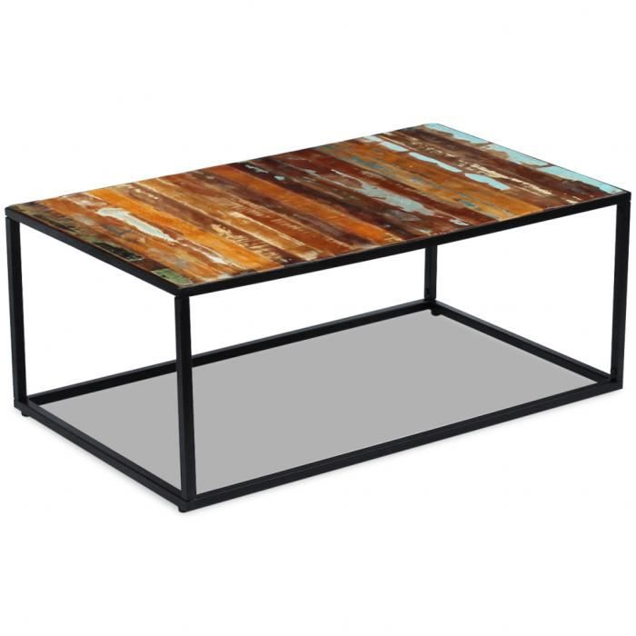 TABLE BASSE Cette table basse en bois de récupération dégage u