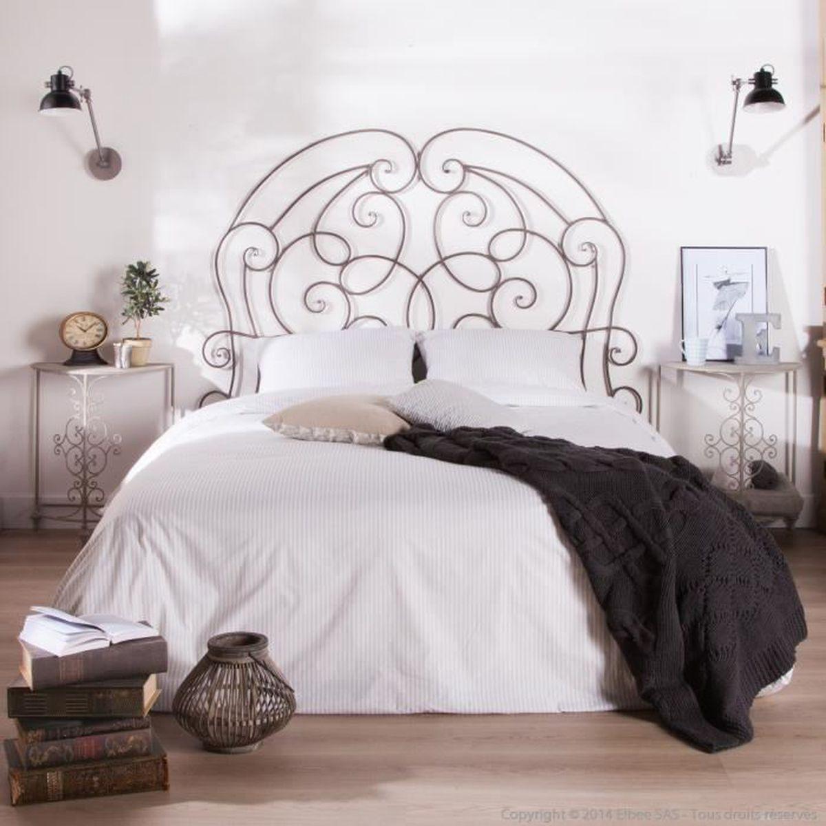 Deco Chambre Avec Lit En Fer tête de lit en fer forgé patiné gris l160xh143cm chinon