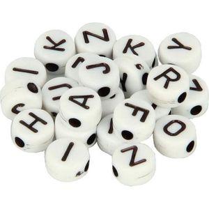 300 blanc-disque acrylique simple lettre A-Z Blanc Alphabet Perles 7 mm x 4 mm
