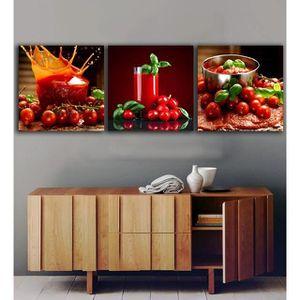 OBJET DÉCORATION MURALE 3 Panneaux Tomates Jus de peintures pour la cuisin