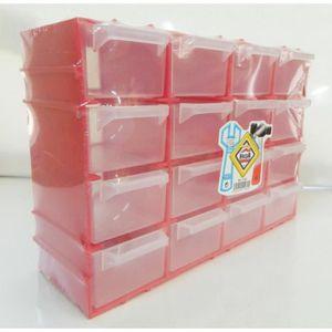 BAC DE RANGEMENT OUTILS petit Casier de rangement ROUGE plastique Boite 21