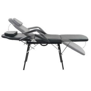 Table de Massage Pliable pour Traitement Facial Simili-Cuir Noir Tidyard Fauteuil de Massage Fauteuil Cosm/étique