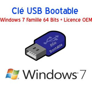 CLÉ USB Clé USB 8Go Bootable Windows 7 Famille 64 Bits + L