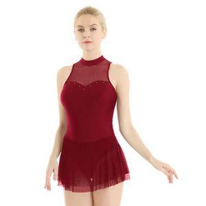 dPois Femme Robe Patinage sans Manches Tutu Ballet Danse Strass Brillants Robe Danse Latine Classique Acad/émique Justaucorps Gymnastique Tenue Danse Moderne XS-XL