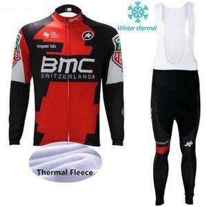 TENUE DE CYCLISME BMC Maillot de vélo en molleton d'hiver pour homme