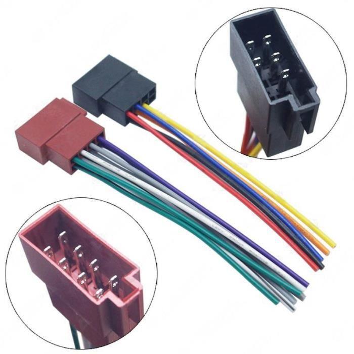 Câble de câblage universel pour autoradio, 1 paire, adaptateur de prise ISO- Radio femelle, faisceau stéréo, ligne de [9AAB704]