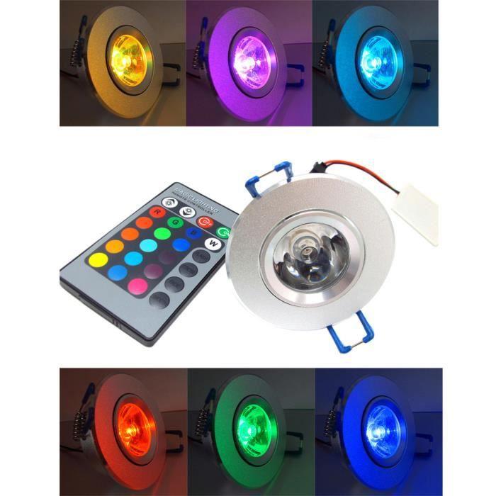 BLOOMWIN LED Spot Encastrable 5pcs RGB Multicolore Ampoule avec Telecommande 220V 16 Couleur Lampe Plafonnier Ronde pour Salon