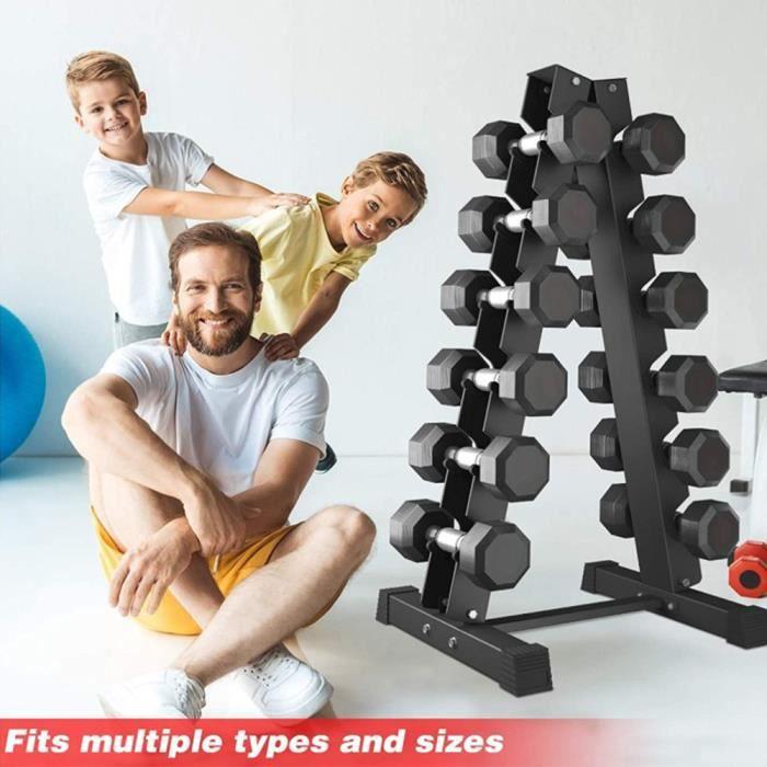 Support d'haltères en Acier Noir - 6 couches - Rack de rangement Pour la maison et le sport -Charge Max. 200 kg