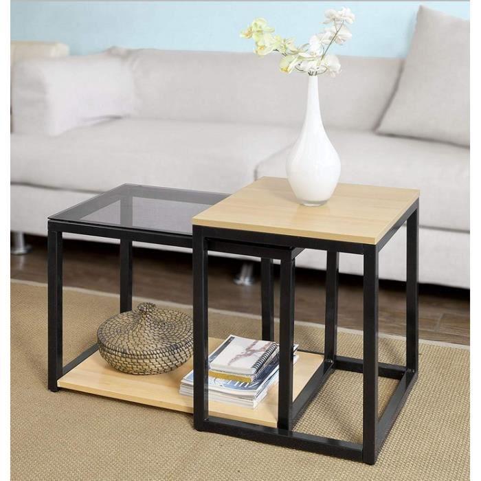 Freestyle - Tables Basses Set de 2 Tables Gigognes design industriel bois et métal