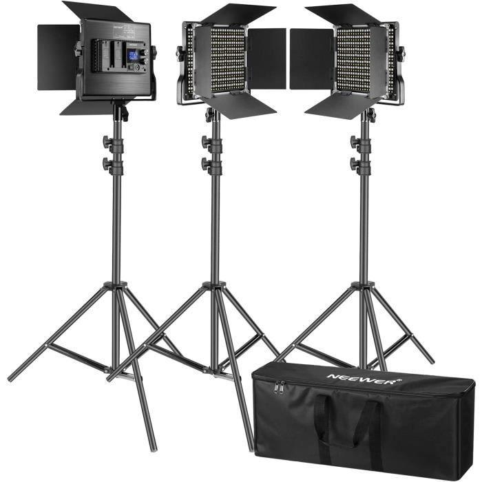 Coupe-flux pour studio photo Neewer 660 LED Panneu Lumière Vidéo à LCD Ecran avec Pied 200cm- Lot de 3 Kit Eclairage Pho 7694
