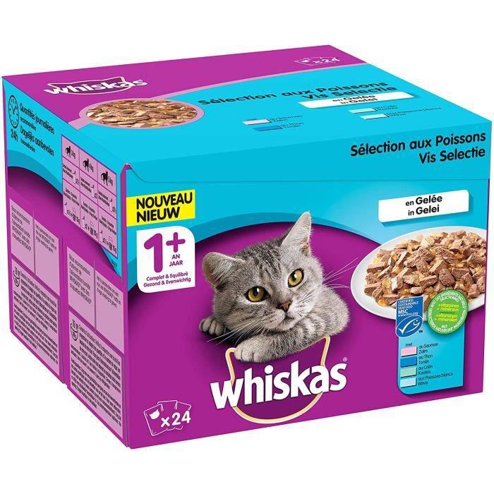 Nourriture pour chats Whiskas Sélection aux Poissons en Gelée – Nourriture humide pour chat adulte – Alimentation complè 38618