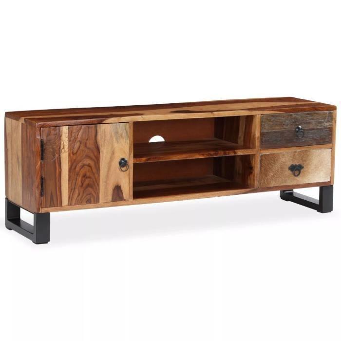 Meuble télé buffet tv télévision design pratique bois massif de sesham 120 cm 2502177