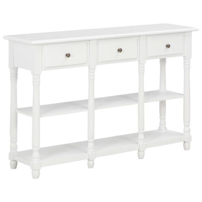 Vente-Hot Table console Avec 2 étagères et 3 tiroirs Blanc 120x30x76 cm MDF ®HLVNP