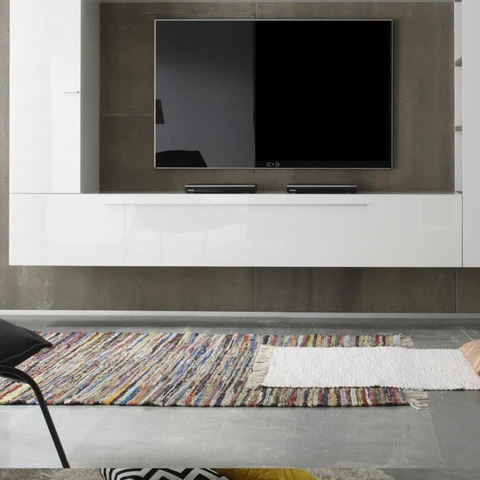 Grand meuble de rangement suspendu blanc laqué FOMA Blanc L 210 x P 36 x H 34 cm