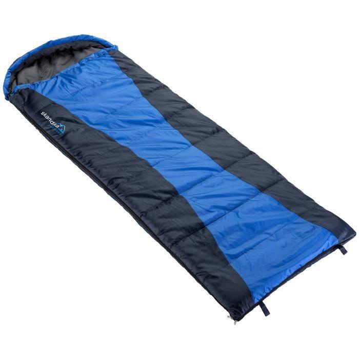 Skandika Thurso - Sac de couchage couverture synthétique - 210 x 80 cm -jumelable - bleu/noir - Zip Droit