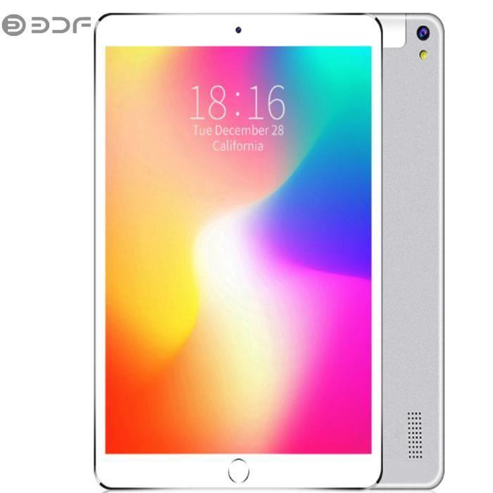BDF Tablette PC Tactile 10.1 pouces Appel Tablet PC MTK 6580 3G - 4G Android 7.0 5000mAh avec housse de protection - Argent