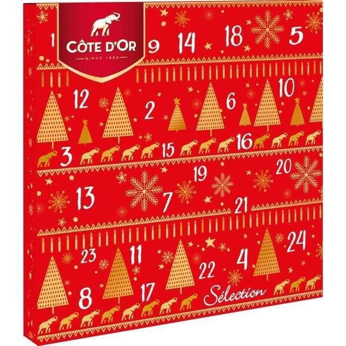CÔTE D'OR - Calendrier de l'avent - Assortiment de Chocolats de Noël - Boîte de 235 g