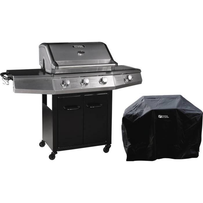 Barbecue Gaz -Bingo 4- - 4 brûleurs dont 1 latéral - 14kW + Housse protection - Noir