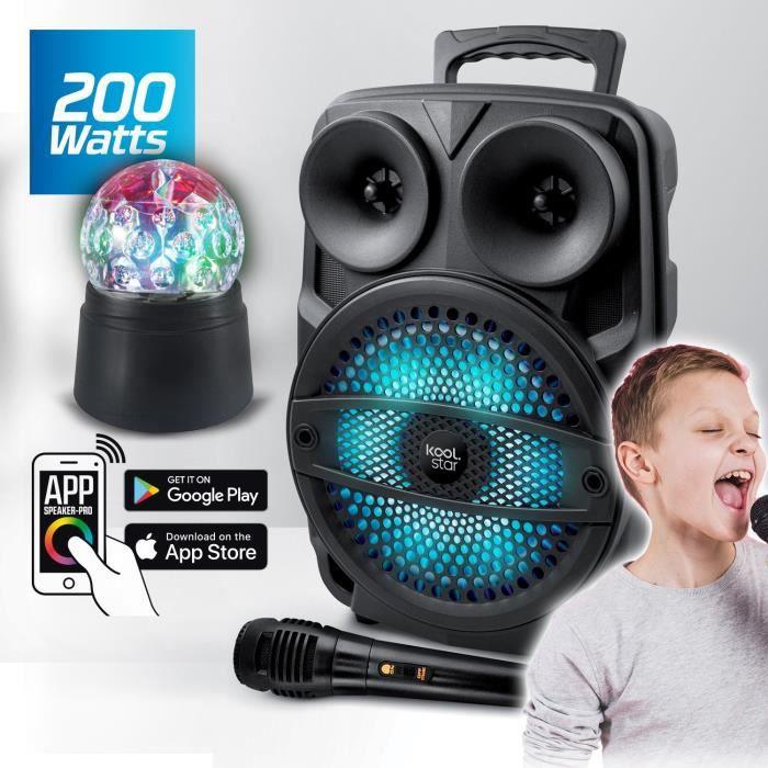Enceinte Appplication Bluetooth Karaoké Autonome SUBLIM08 200W DJ SONO Koolstar LED avec micro /USB/AUX/ + Boule disco