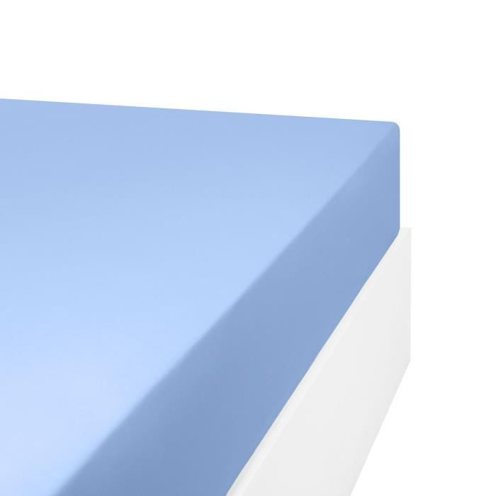 LINANDELLE - Drap housse en mélange 57 fils AISANCE - Bleu clair - 120x200 cm