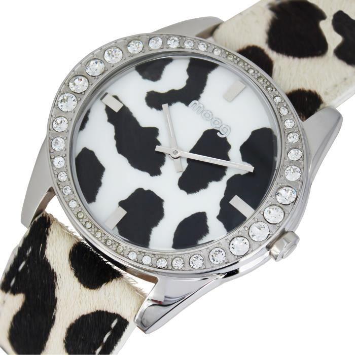 Montre Femme Moog Paris Safari avec Cadran Noir et Blanc, Eléments Swarovski, Bracelet Blanc et Noir en Cuir Véritable - M45632-703