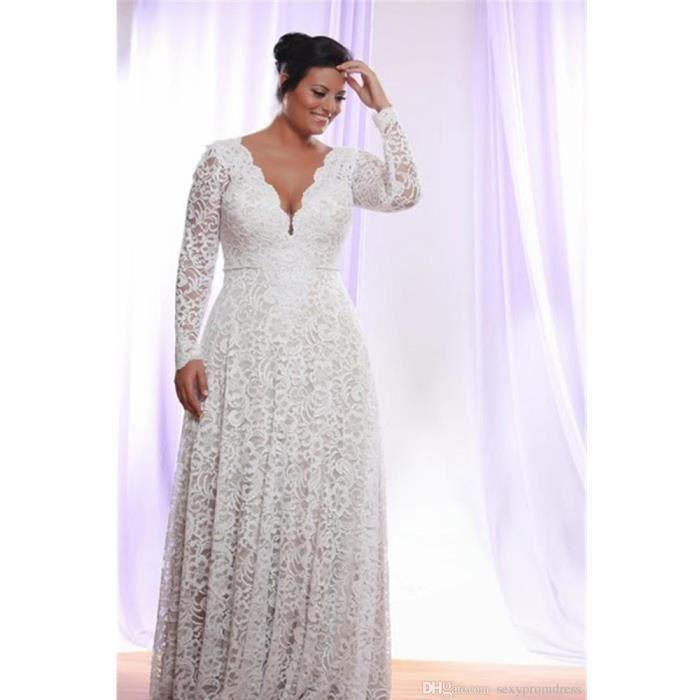 Robe de mariée Grande taille simple col v sans manches fourreau dos nu empire et robe tout en dentelle(32-56)-Blanc