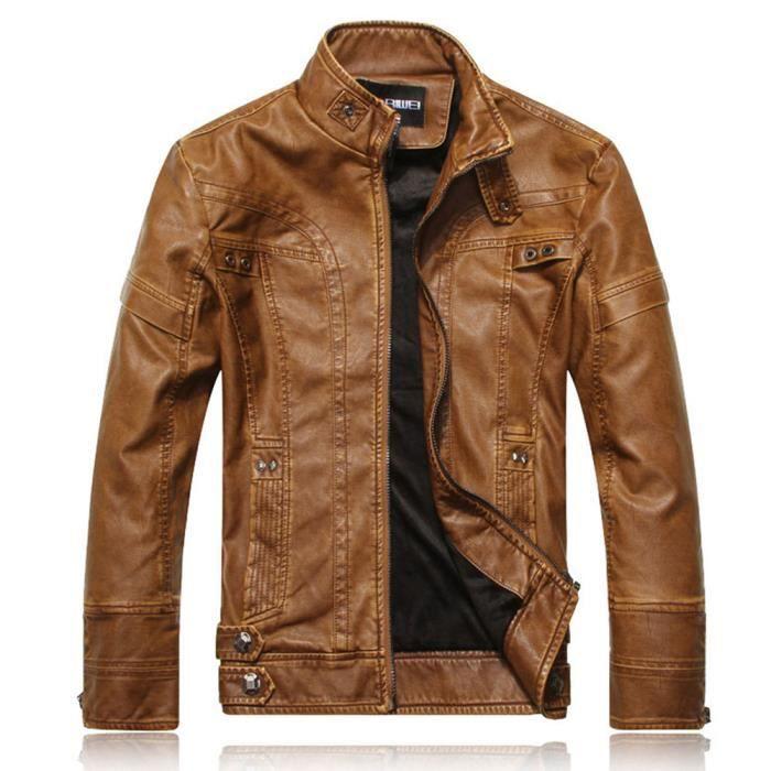 Veste de moto en cuir PU Vintage hommes manteau de moto