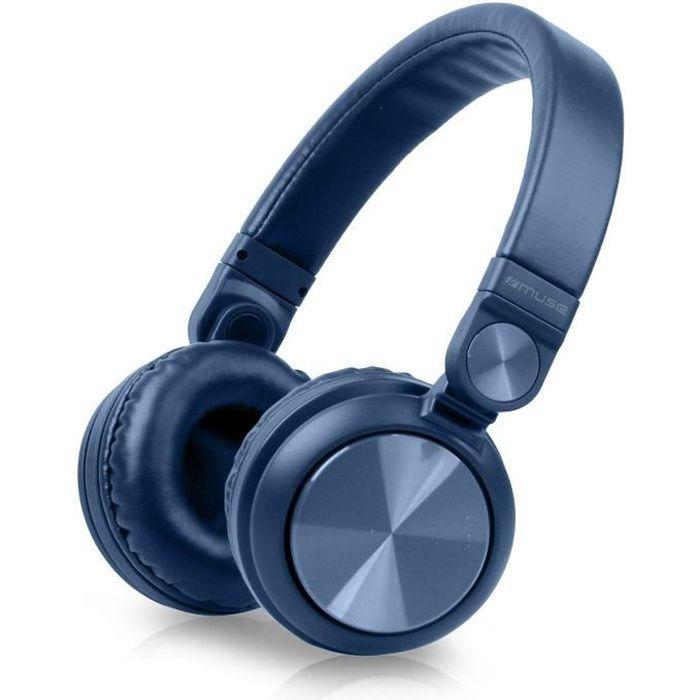 MUSE M-276 BTB Casque Bluetooth -  Autonomie 10h - Bleu