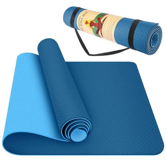 Tapis de Yoga Pro Classique 183*61*0.6cm TPE Tapis de Fitness Antidérapant mat exercise double face BLEU