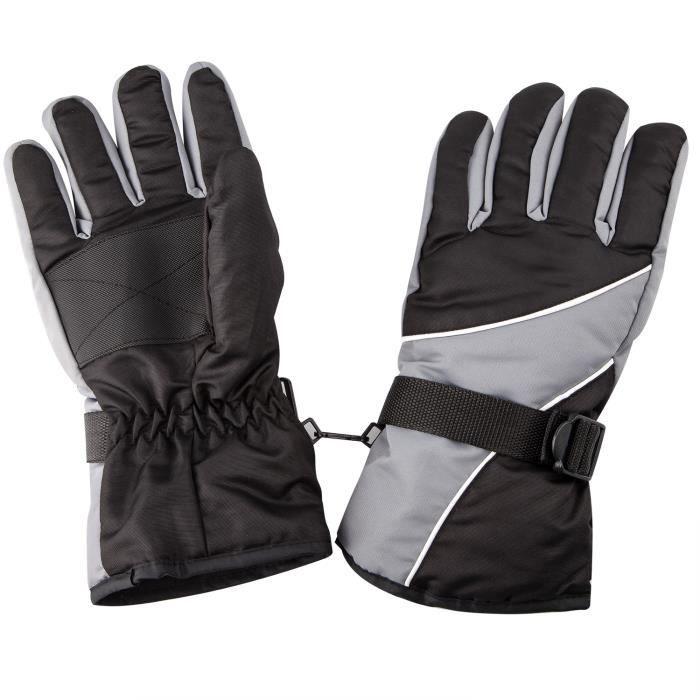 Gants Chauds Noir et Gris pour l'Extérieur par Temps Froid Sports d'Hiver Neige