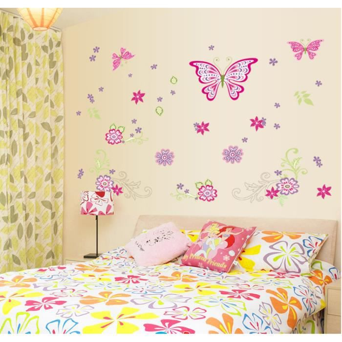fleur color e de vigne et papillons diy stickers muraux amovibles d coration murale achat. Black Bedroom Furniture Sets. Home Design Ideas