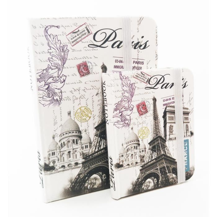 carnet de notes notebook petit mod le monuments de paris effet carte postale achat vente. Black Bedroom Furniture Sets. Home Design Ideas