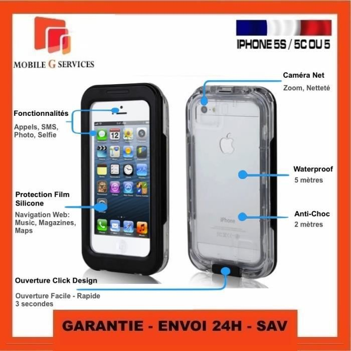 Waterproof antichoc etanche housse coque etui case pour for Housse iphone 5 c