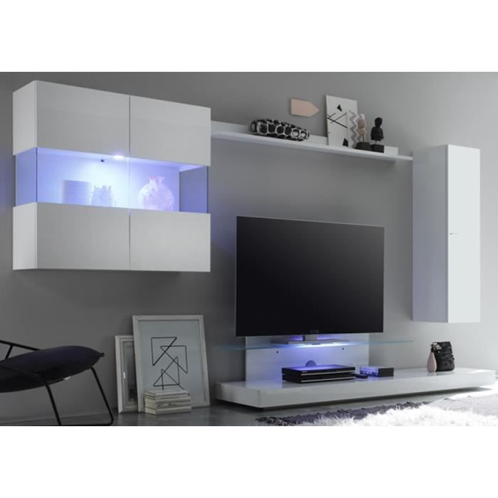 ensemble meuble tv mural laqu blanc isa sans clairage achat vente meuble tv ensemble. Black Bedroom Furniture Sets. Home Design Ideas