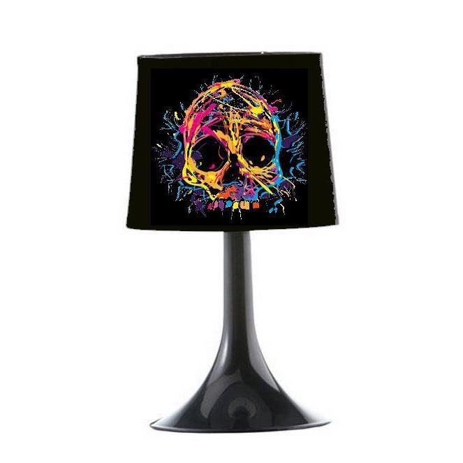 lampe de chevet tete de mort multicolore achat vente lampe de chevet tete de mor coton. Black Bedroom Furniture Sets. Home Design Ideas