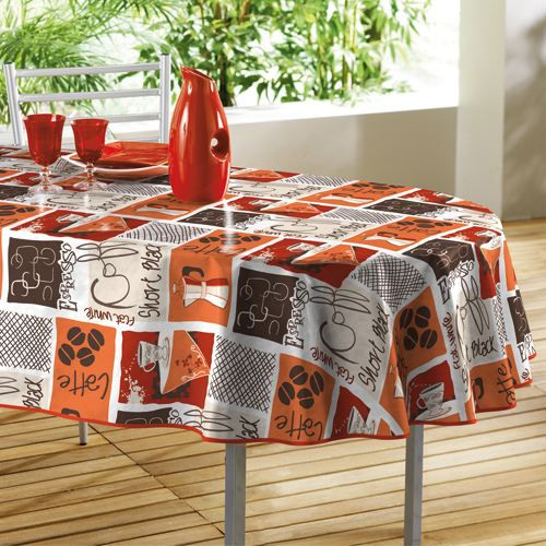 nappe toile cir e ovale caf ine orange 140x240cm achat. Black Bedroom Furniture Sets. Home Design Ideas