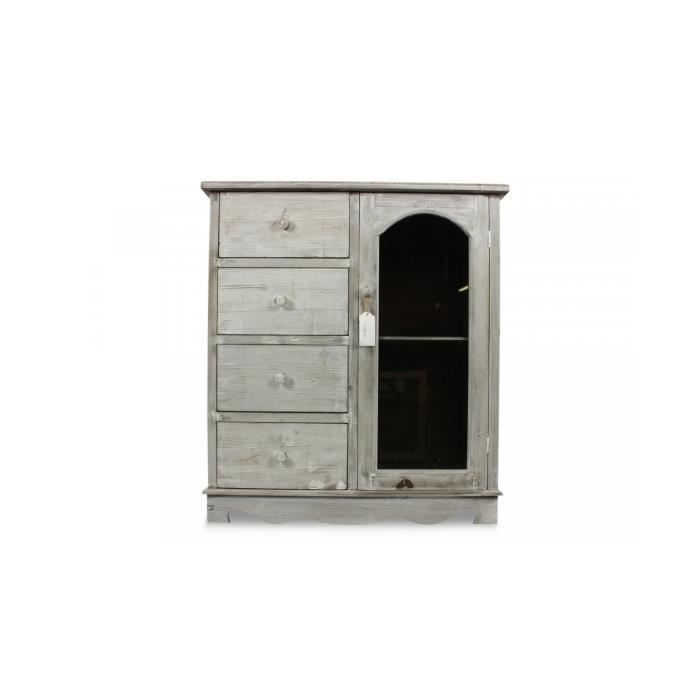 meuble bas rangement bois ceruse blanc 4 tiroirs 80x40x90cm achat vente buffet bahut. Black Bedroom Furniture Sets. Home Design Ideas