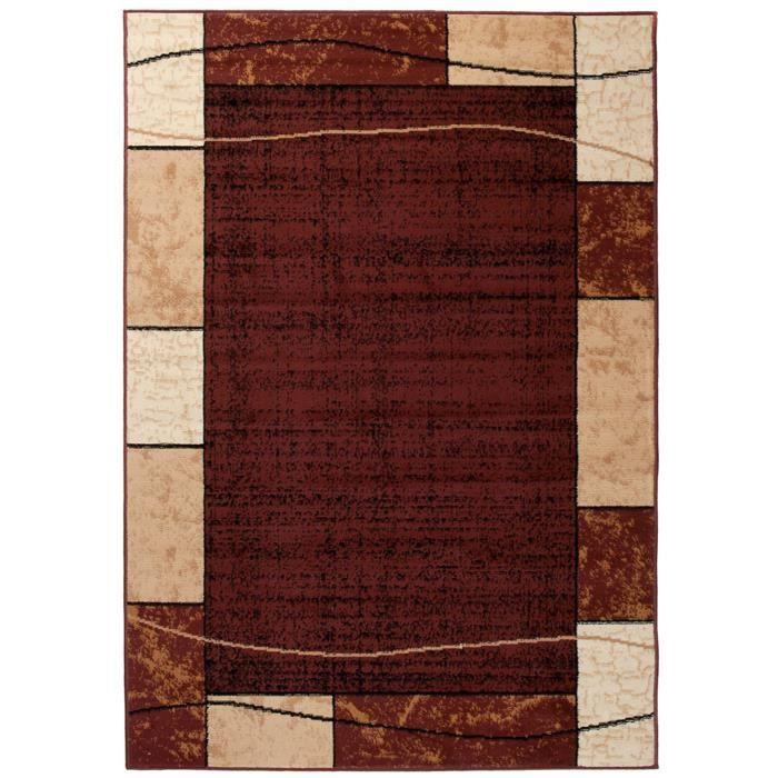 TAPISO Dream Tapis de Salon Chambre Design Moderne Marron Foncé Beige  Carreaux Rectangles 220 x 300 cm