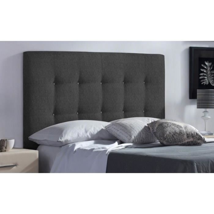 t te de lit fabric couleur tissu gris fonc mesure lit de 140 cm de large achat vente. Black Bedroom Furniture Sets. Home Design Ideas