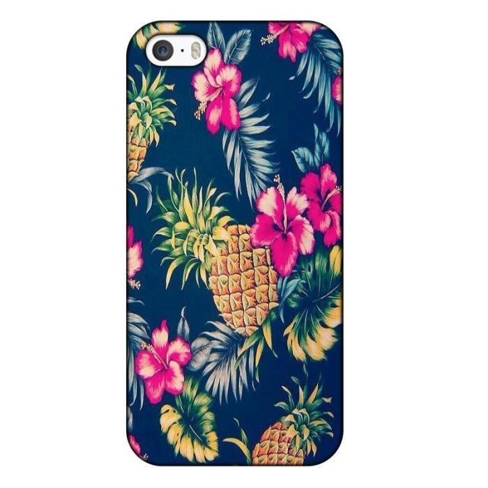 coque iphone 4 4s ananas fleur rose tropical exoti