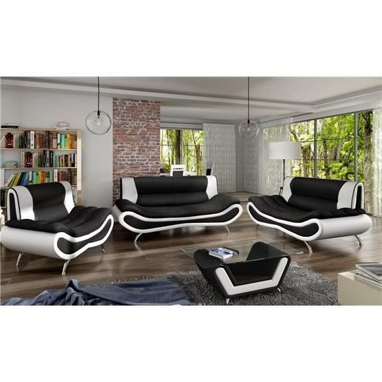 ensemble de canap design 3 2 ori noir et blanc achat. Black Bedroom Furniture Sets. Home Design Ideas