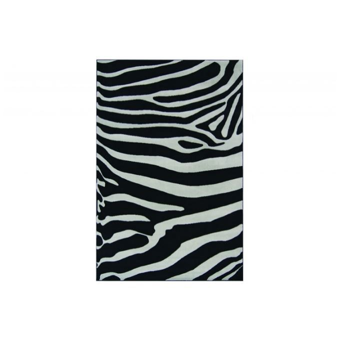 tapis deco zebre noir et gris 120x170 cm achat vente tapis cdiscount. Black Bedroom Furniture Sets. Home Design Ideas
