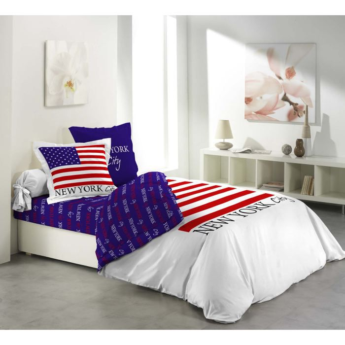 parure de drap lit 2 pers 100 coton flag achat vente. Black Bedroom Furniture Sets. Home Design Ideas