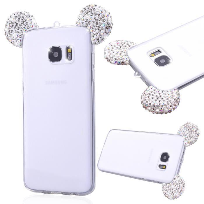 Samsung Galaxy S7 Edge Coque Blanc Mickey Oreille TPU Transparent ...