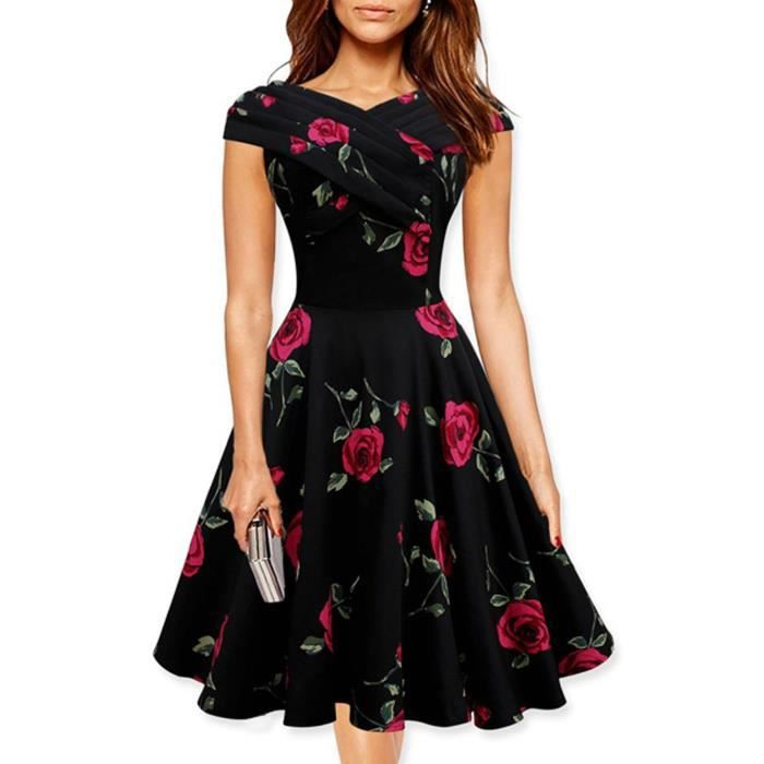 robe de soir e femme courte col bateau avec manches imprim fleur sequin vintage office dress. Black Bedroom Furniture Sets. Home Design Ideas