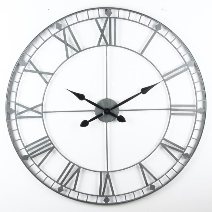 horloge murale vintage en m tal diam tre 88 cm achat vente horloge pendule cdiscount. Black Bedroom Furniture Sets. Home Design Ideas