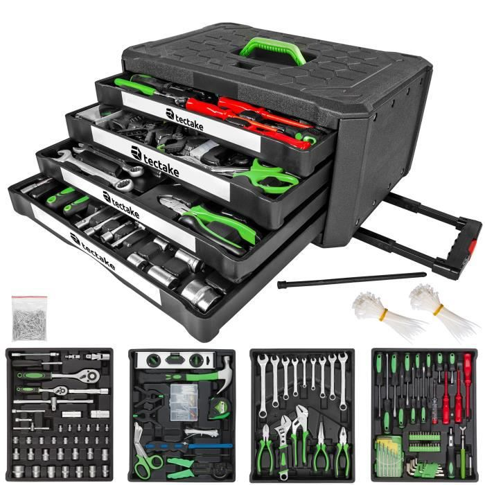 mallette outils trolley boite outils valise outils coffret 200 pi ces tectake avec 4. Black Bedroom Furniture Sets. Home Design Ideas